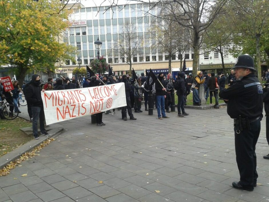 Anti-fascist protesters on College Green