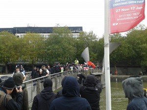 The protestors face off at Pero's Bridge. Photo by Iain Walker.