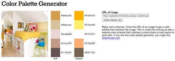 Screenshot: Color Palette Generator color scheme maker (Farbpaletten aus Bildern erstellen)