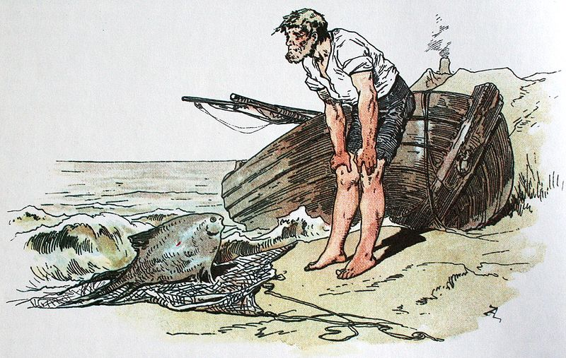 Grimms Märchen: Der Fischer und seine Frau... und der Butt natürlich. (Darstellung von Alexander Zick, gefunden bei Wikipedia)