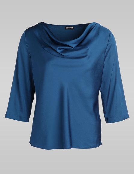 Bluse mit Wasserfallkragen, Farbe: Blau (gefunden bei Gerry Weber Blusen unter http://www.house-of-gerryweber.de/Blusen/gerry-collection-bluse,de,sc.html)