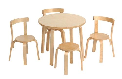 """Alvar Aalto im Kinderzimmer: Kindertisch """"Play with me"""", Stühle und Hocker von Svan of Sweden (© Svan)"""