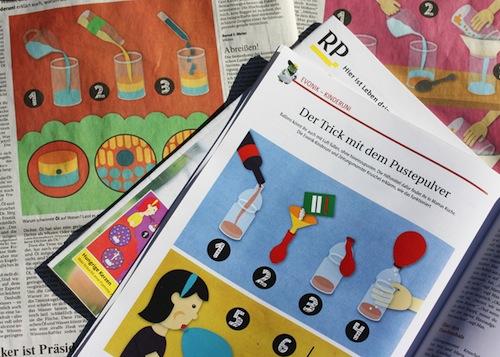 Experimente für Kinder in der Rheinischen Post, Illustration von Dana Dublin