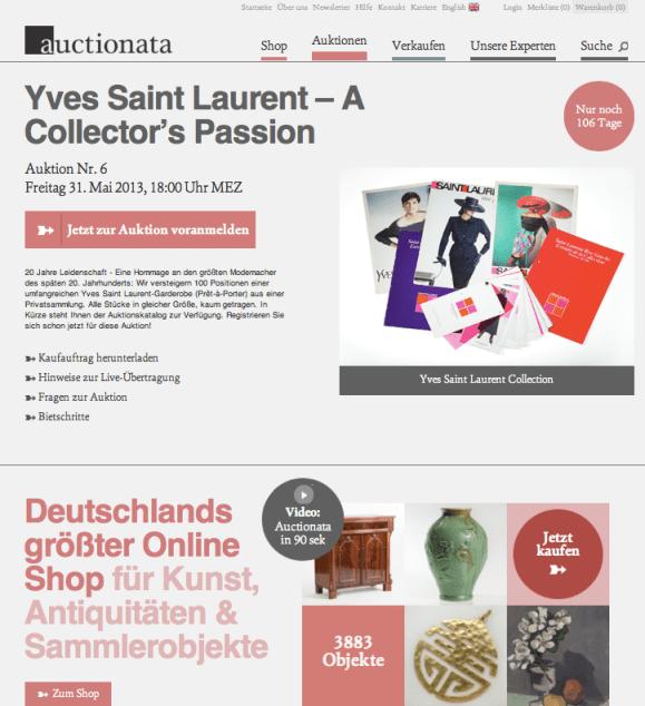 Auctionata: Versteigerung von 100 Positionen einer umfangreichen Yves Saint Laurent-Garderobe (Prêt-à-Porter) aus einer Privatsammlung.