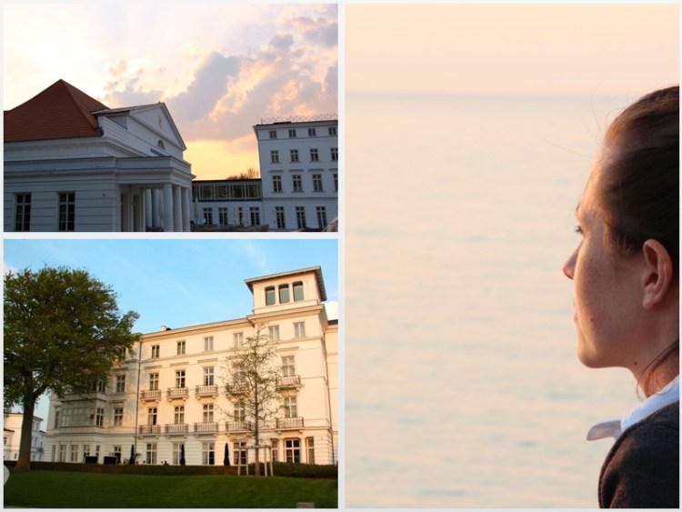 Von der Großstadt in die Weiße Stadt am Meer: Grand Hotel Heiligendamm, abendliche Verwandlung von der weißen Stadt am Meer in eine goldene Stadt am Meer