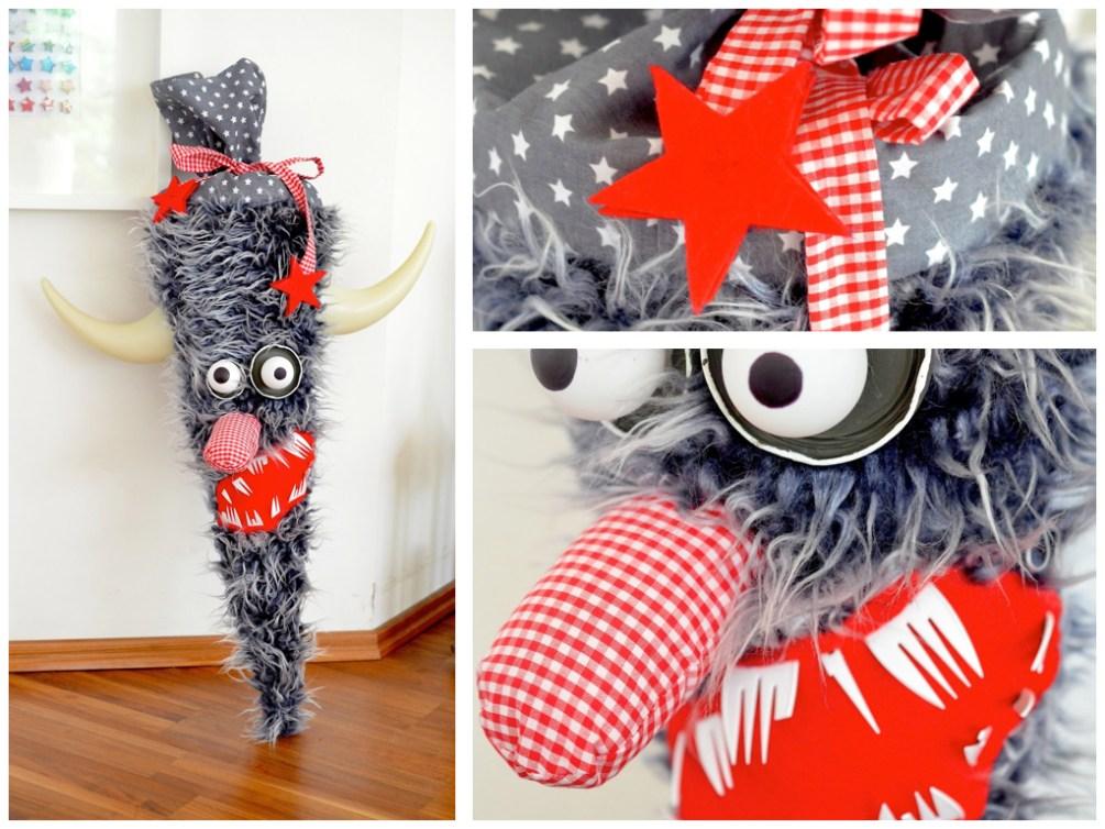 Inspiration zum Schultüten basteln: Eine Monster-Schultüte von Überall & Nirgendwo