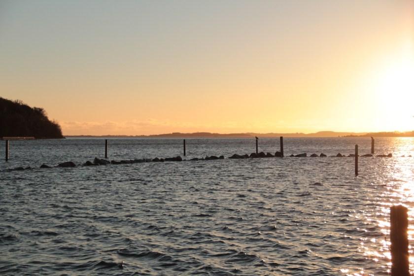 Knapp verpasst: Der Sonnenaufgang über dem Greifswalder Bodden