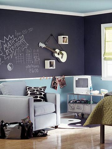 Jugendzimmer mit Tafelfarbe: Wand mit Kombination aus blauer Wandfarbe und Tafelfarbe