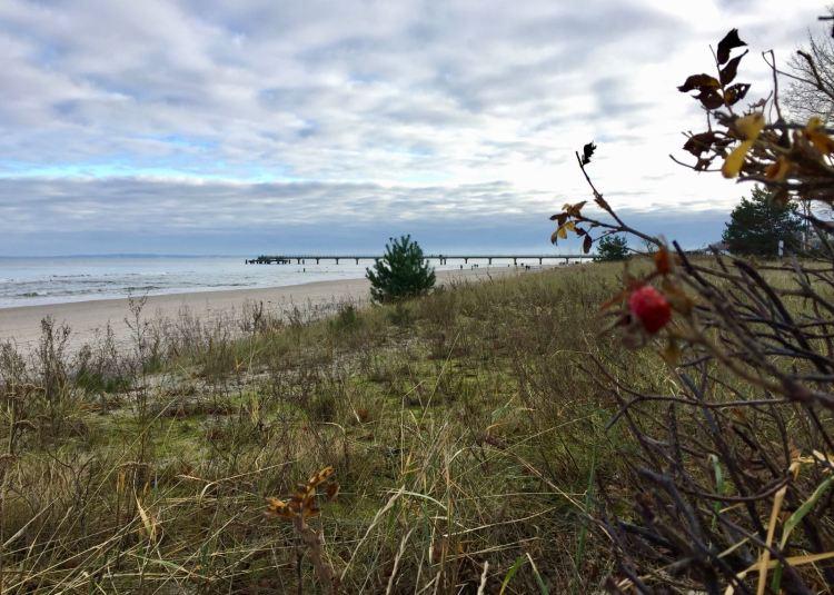 Blick über die Düne auf den Strand von Basin