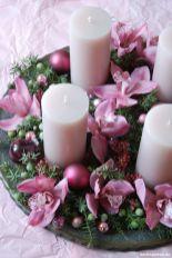 Adventsgesteck in rosa