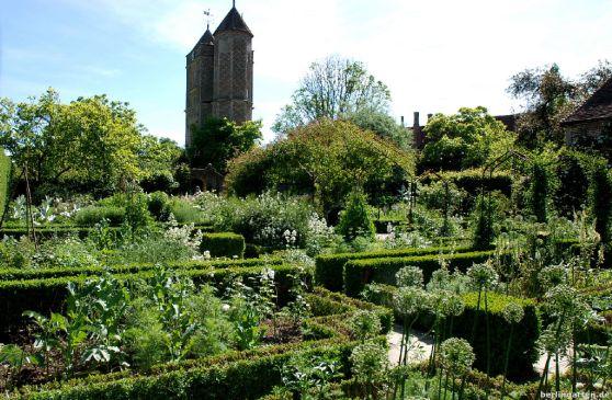 Blick über den Weißen Garten - leider blüht die Multiflorarose am Pavillon noch nicht