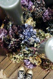 Hortensienkranz in verschiedenen Blütentönen mit Blattgold