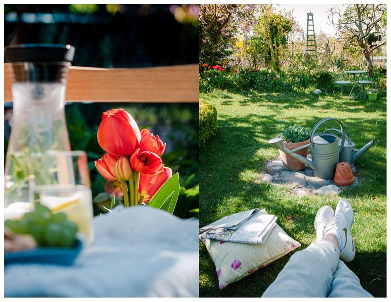 Gartenlimonade mit Gartenblick