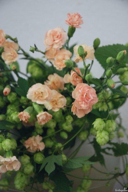 Die kleinen Blüten der Nelken öffnen sich noch alle in der Vase