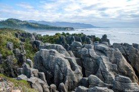 So sieht Schichtverwitterung aus: Die Felsformationen der Pancake Rocks sehen aus wie gestapelte Eierkuchen. An der rauen Westküste schlagen die Wellen der Tasmansee gegen die Felsen. Im Paparoa-Nationalpark bei Punakaiki hat das Wasser diese ganz besonderen Formen aus Gestein gewaschen