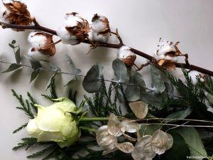 Die Zutaten: Rosen, Baumwolle, Sicheltanne, Eukalyptus. Und Silberblatt