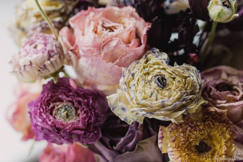 Getrocknete Rosenblüten und Ranunkeln