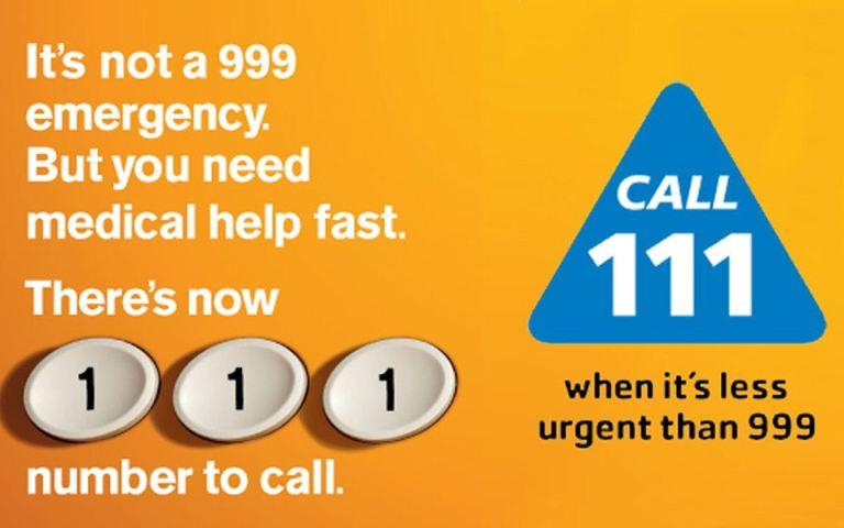 Die erste Hilfe Telefonnummer der NHS 111