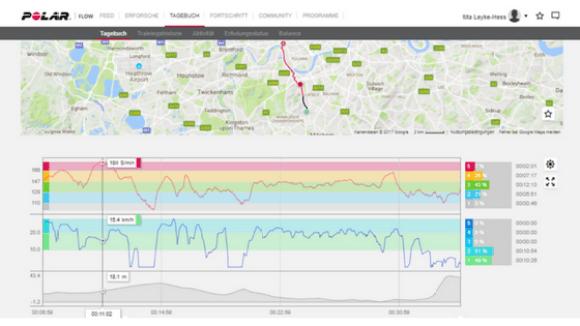 Trainingsanalyse Polar Flow GPS Uhr