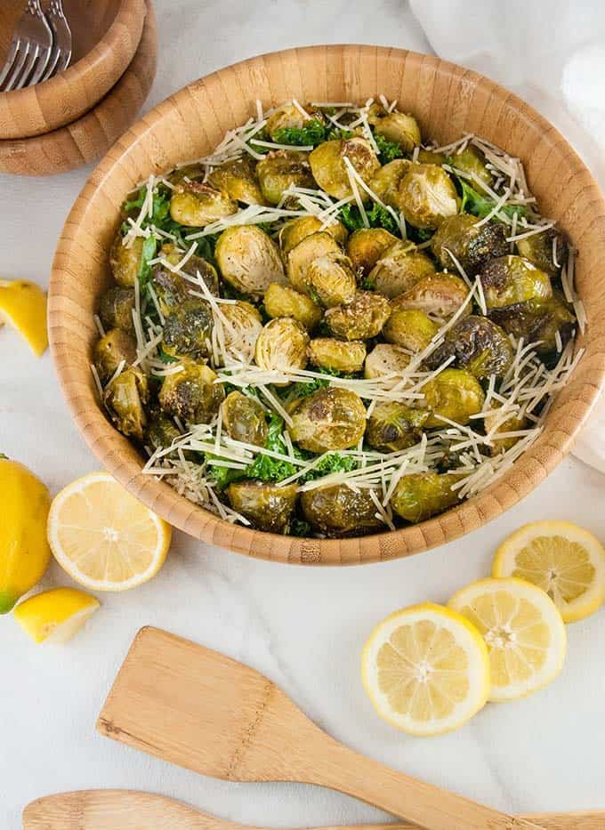 ARoasted Brussel Sprouts Caesar Salad is the perfect balance of hearty, roasted brussels sprouts and light, Caesar salad.