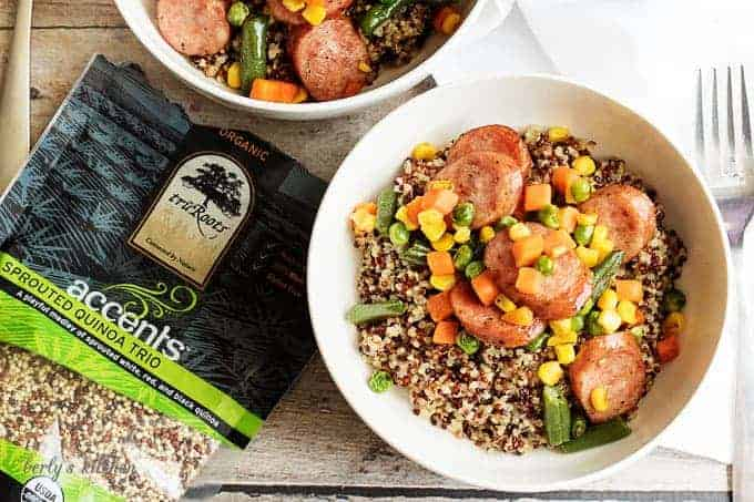 Looking for an easy and delicious weeknight meal idea? Then try our sausage and veggie stir fry over quinoa. It's a healthier twist on a classic stir-fry!