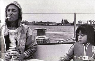 John and Sean Lennon aboard the Megan Jaye