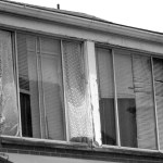 lace curtains in apartment window