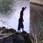 silhouette of someone fishing