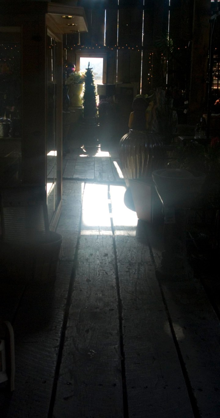 photo of light coming in barn window