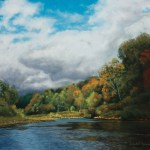 pastel painting of autumn landscape