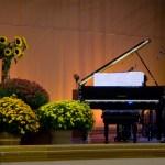 piano with chrysanthemums