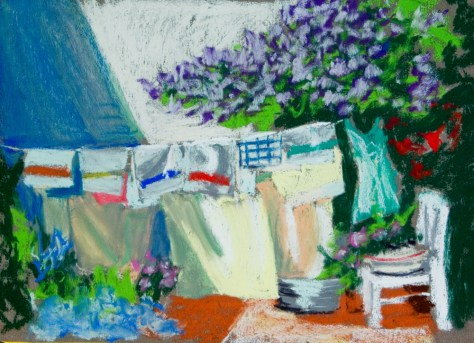 pastel painting of laundry
