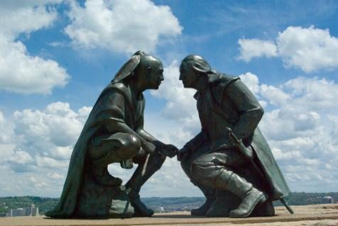 """Points of View"": Chief Guyasuta and George Washington."
