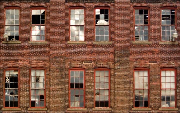 broken windows in old building