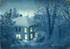 pastel painting of snow out the windows at night