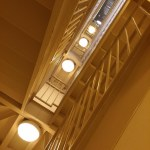 stairwell in yellow light