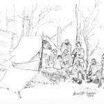 ink sketch of civil war reenactors in camp