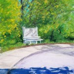 pastel painting of bench in spring trees