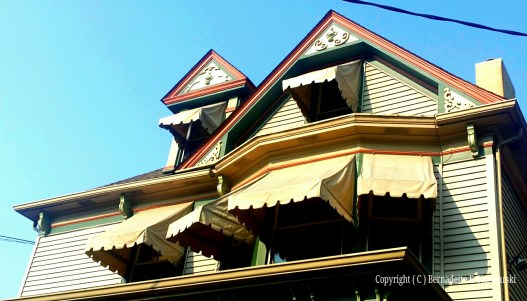 Awnings and ornaments.