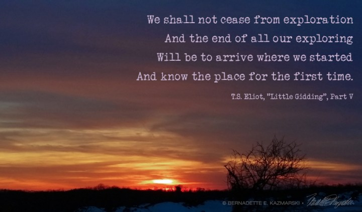 Winter sunset with eliot quote