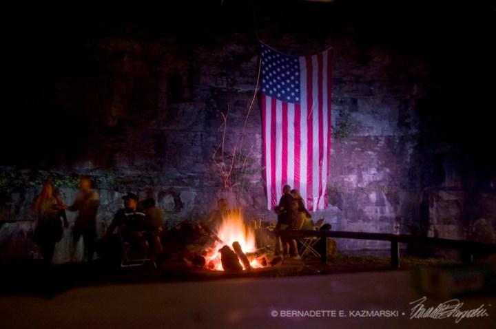 The big flag and the bonfire.