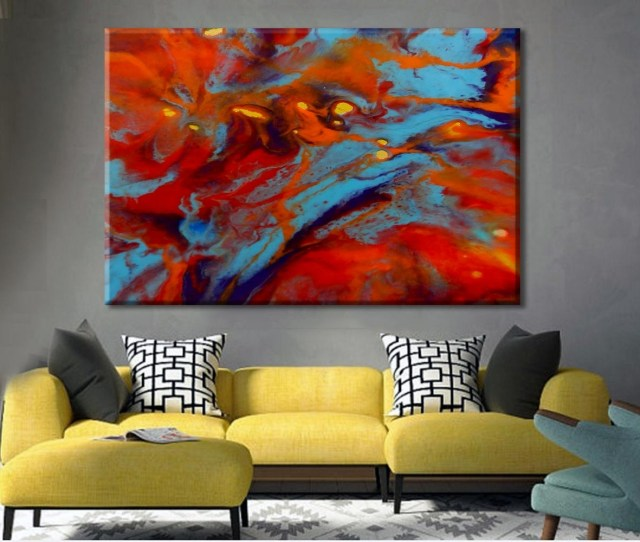 Oversize Art Print Colorful Art Large Canvas Print Abstract Regarding Most Popular Extra