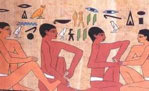 Prática das terapias no antigo Egipto. Sarcófago de Ankhmator (2330 a.C.), Saqqarah