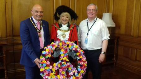 Lord Mayor and peace symbol