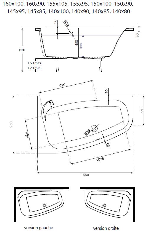 baignoire asymetrique frisbee 160x90cm version gauche acrylique blanc leda ref l16fr3a1101