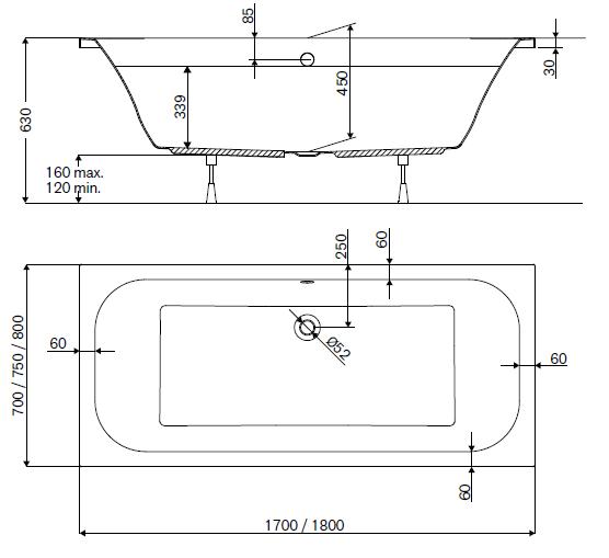 baignoire rectangulaire frisbee 170x75cm vidage central blanc leda ref l16fr3r1001