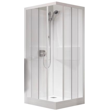 cabine kineprime c angle 80x80 mitigeur thermostatique receveur 15cm porte coulissante transparent kinedo ref ca530ttn