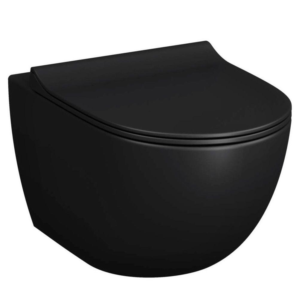 cuvette wc suspendue sans bride avec abattant frein de chute noir mat