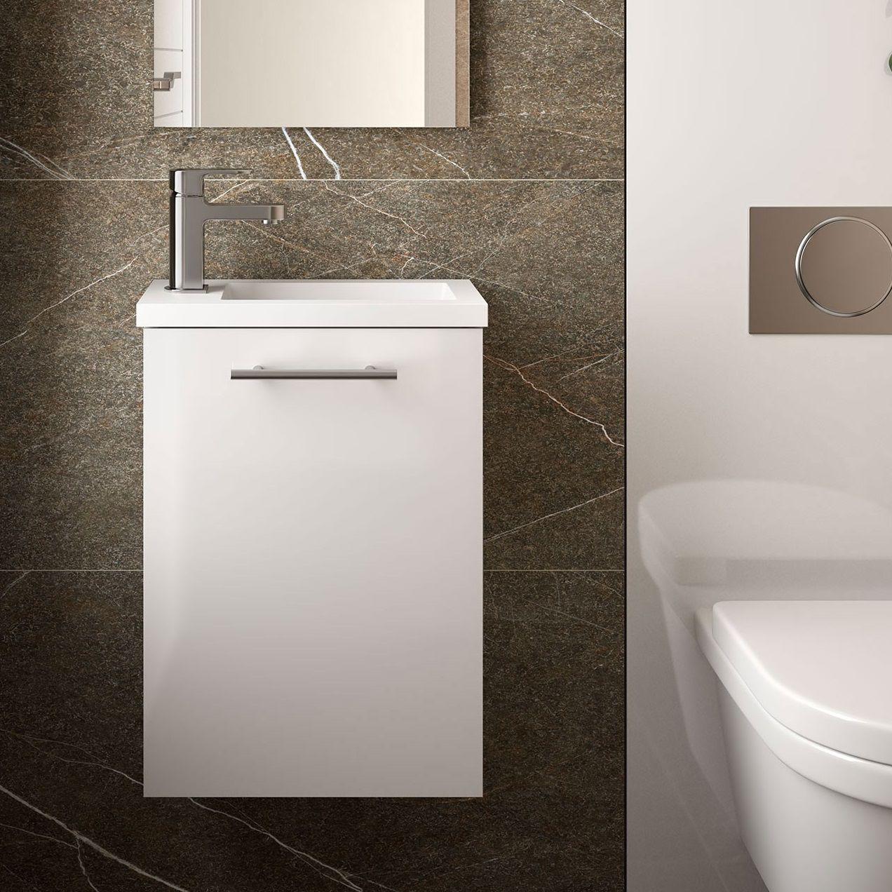 ensemble meuble vasque micro 40cm 1 porte blanc brillant salgar ref 22520