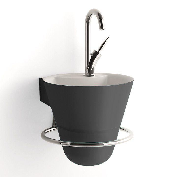 Lave Mains Decotec Cone O29 7cm Sans Mitigeur Avec Porte Serviettes Bonde Et Siphon Chrome